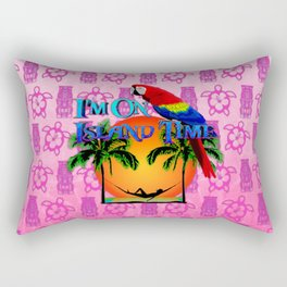 Pink Tiki Island Time And Parrot Rectangular Pillow