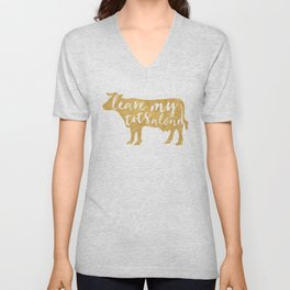 LEAVE MY TITS ALONE vegan cow quote Unisex V-Neck