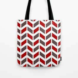 Red, taupe and white chevron pattern Tote Bag