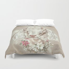 Goat with Floral Wreath by Debi Coules Duvet Cover