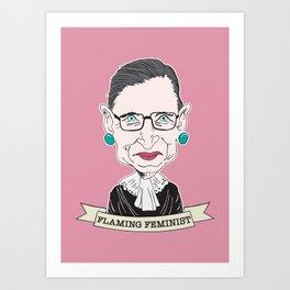 Ruth Bader Ginsburg The Notorious RBG Flaming Feminist Art Print