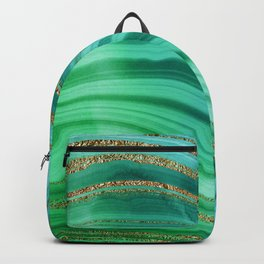Ocean Blue And Green Mermaid Glamour Marble Backpack