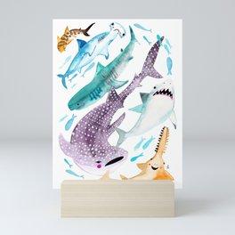 Help Stop Shark Finning - Watercolor Ocean Animals - Fish Mini Art Print