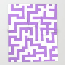 White and Lavender Violet Labyrinth Throw Blanket