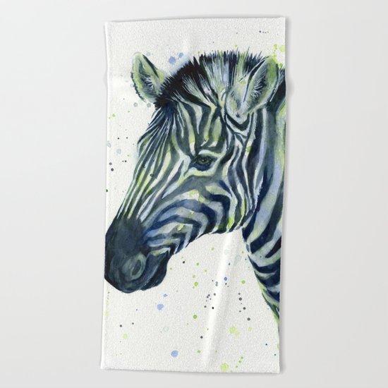 Zebra Watercolor Blue Green Animal Beach Towel