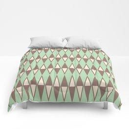 Mid Century Modern Diamond Pattern Brown Green 231 Comforters