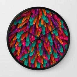 Varicoloured feathers Wall Clock