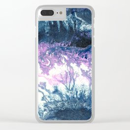 Dark grey & pink abstract Clear iPhone Case