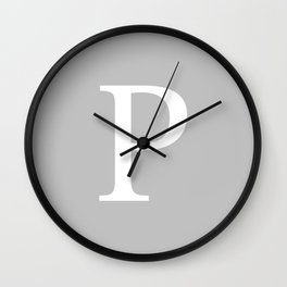 Silver Gray Basic Monogram P Wall Clock