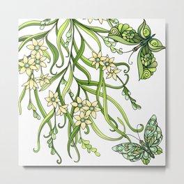 Butterflies In Flowers Metal Print