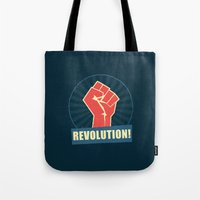 revolution Tote Bags featuring REVOLUTION! by Word Quirk