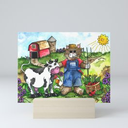 Farmer Fluffy at Harvest Time Mini Art Print