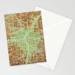 12-Denver Colorado 1958, America cities maps Stationery Cards
