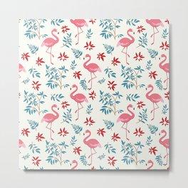 Flamingo and flowers wallpaper Metal Print