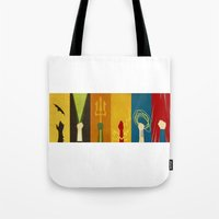 justice league Tote Bags featuring Justice by Danny Haas