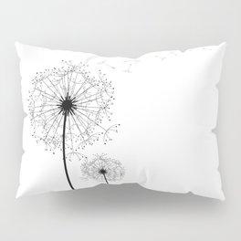 Black And White Dandelion Sketch Pillow Sham