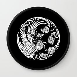 Traditional White and Black Chinese Phoenix Circle Wall Clock