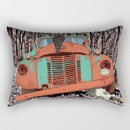 Old speed wagon with a wolf skull and a hawk. Rectangular Pillow