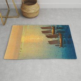 Hiroshi Yoshida Vintage Japanese Woodblock Art Ocean Sunset Sailboat Orange Blue Color Hues Rug