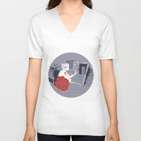 mirror V-neck T-shirts featuring mirror by liva cabule