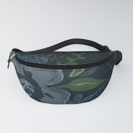 Moody Blues Floral Pattern Fanny Pack
