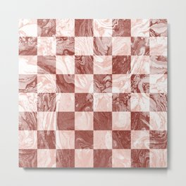 Chess Checker Geometric Coral Blush Marble Ombre Terra Cotta Metal Print