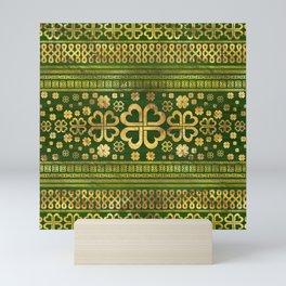Shamrock Four-leaf Clover Green Wood and Gold Mini Art Print