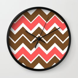 Big Chevron:  Chocolate Brown + Coral Wall Clock