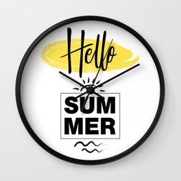 Hello Summer Typography Wall Clock
