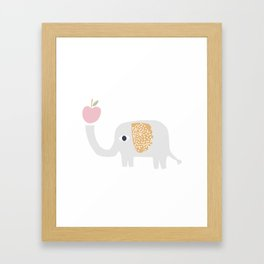 elephant with apple Framed Art Print