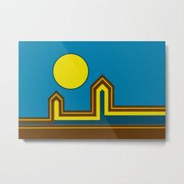 Line Houses with Yellow Sun Metal Print