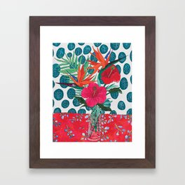 Tropical Bouquet in Living Coral and Emerald Green Framed Art Print