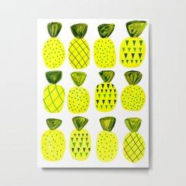 Modern Pineapples Painting Metal Print