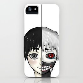 Kaneki Ken shiro/kuro split iPhone Case