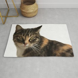 Tabby Cat With Ear Turned Sideways Rug
