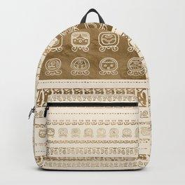 Maya Calendar Glyphs gold on pastel beige Backpack