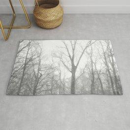 Black and White Forest Illustration Rug