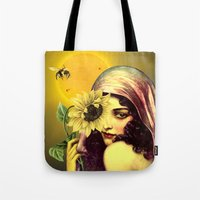 sunflower Tote Bags featuring SUNFLOWER by Julia Lillard Art