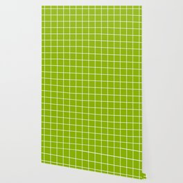 Apple green - green color - White Lines Grid Pattern Wallpaper