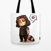 bucky Tote Bags featuring raccoon!bucky by zombietonbo