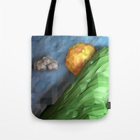 low poly Tote Bags featuring Low Poly Sunset by cnrgrn