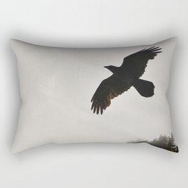 Raven Corvid Bird Northwest Mist Fog Forest Beach Landscape Oregon Rectangular Pillow