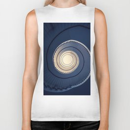 Spiral staircase in ark blue and sand tones Biker Tank