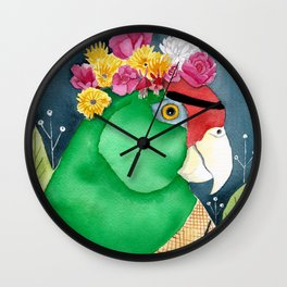Frida Kahlo Parrot Wall Clock