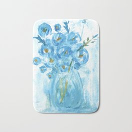 Painting of Blue Flowers in Vase, Impasto Bath Mat