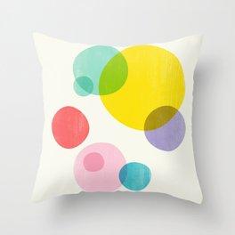 Rainbow Bubbles III Throw Pillow