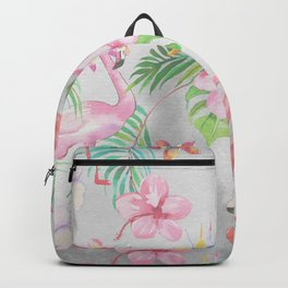 Pink lilac green watercolor hand painted tropical floral flamingos Backpack