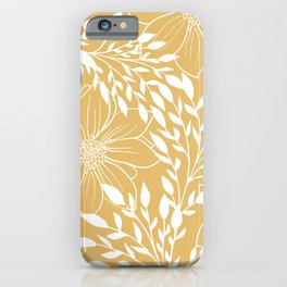 Floral Prints and Leaves, Line Art, Yellow iPhone Case