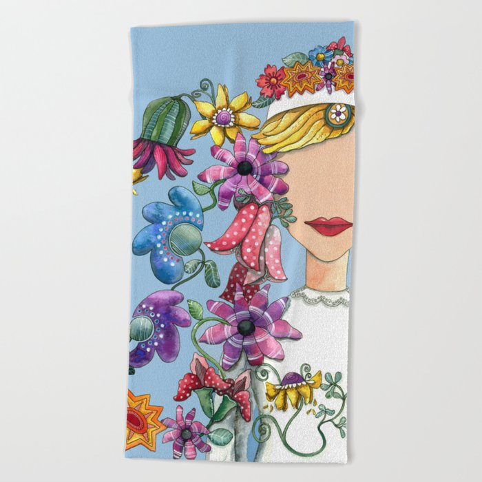 I Love the Flower Girl Beach Towel