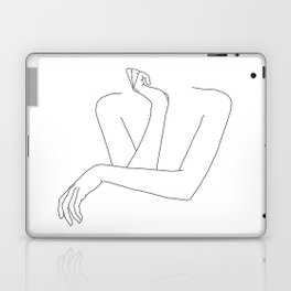 Minimal line drawing of woman's folded arms - Anna Laptop & iPad Skin